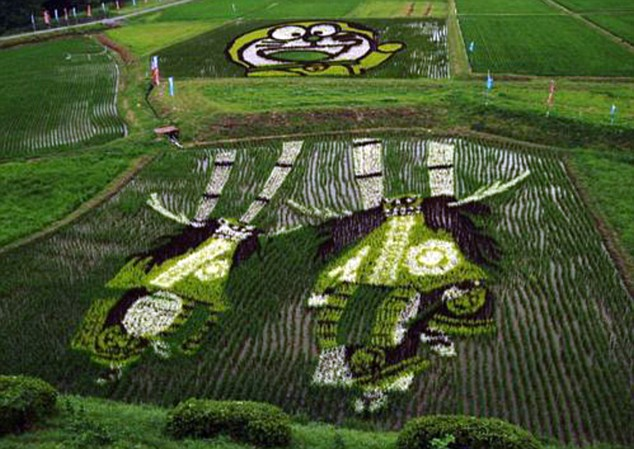 Smaller works of crop art can be seen in other rice-farming areas of Japan such as this image of Doraemon and deer dancers
